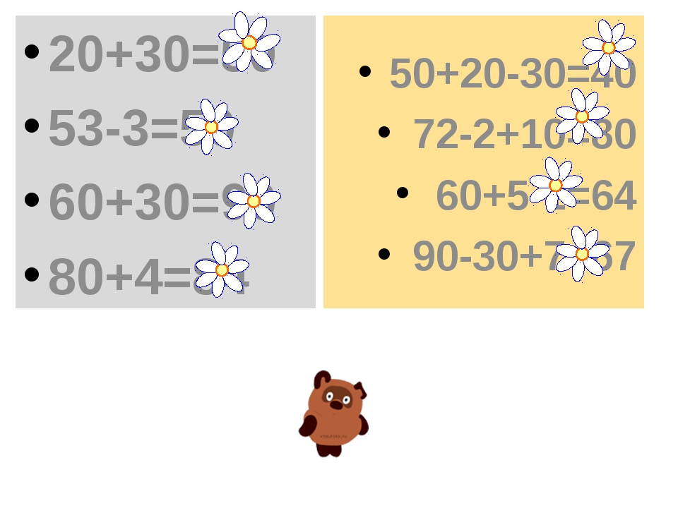 20+30=50 53-3=50 60+30=90 80+4=84 50+20-30=40 72-2+10=80 60+5-1=64 90-30+7=67