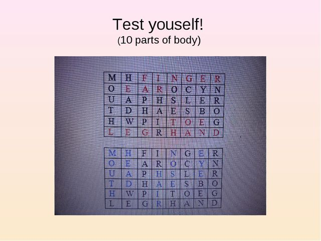 Test youself! (10 parts of body)