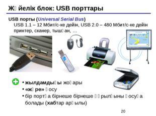 Жүйелік блок: USB порттары USB порты (Universal Serial Bus) USB 1.1 – 12 Мбит
