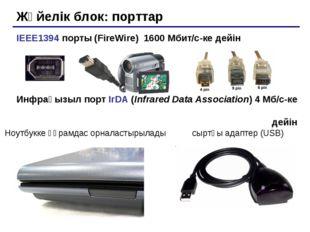 Жүйелік блок: порттар IEEE1394 порты (FireWire) 1600 Мбит/c-ке дейін Инфрақыз
