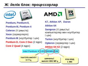 Жүйелік блок: процессорлар Pentium, Pentium-II, Pentium-III, Pentium 4 Celero