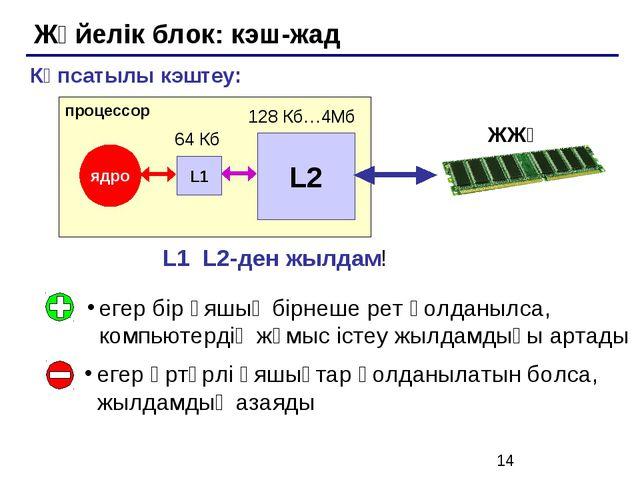 Жүйелік блок: кэш-жад егер бір ұяшық бірнеше рет қолданылса, компьютердің жұм...