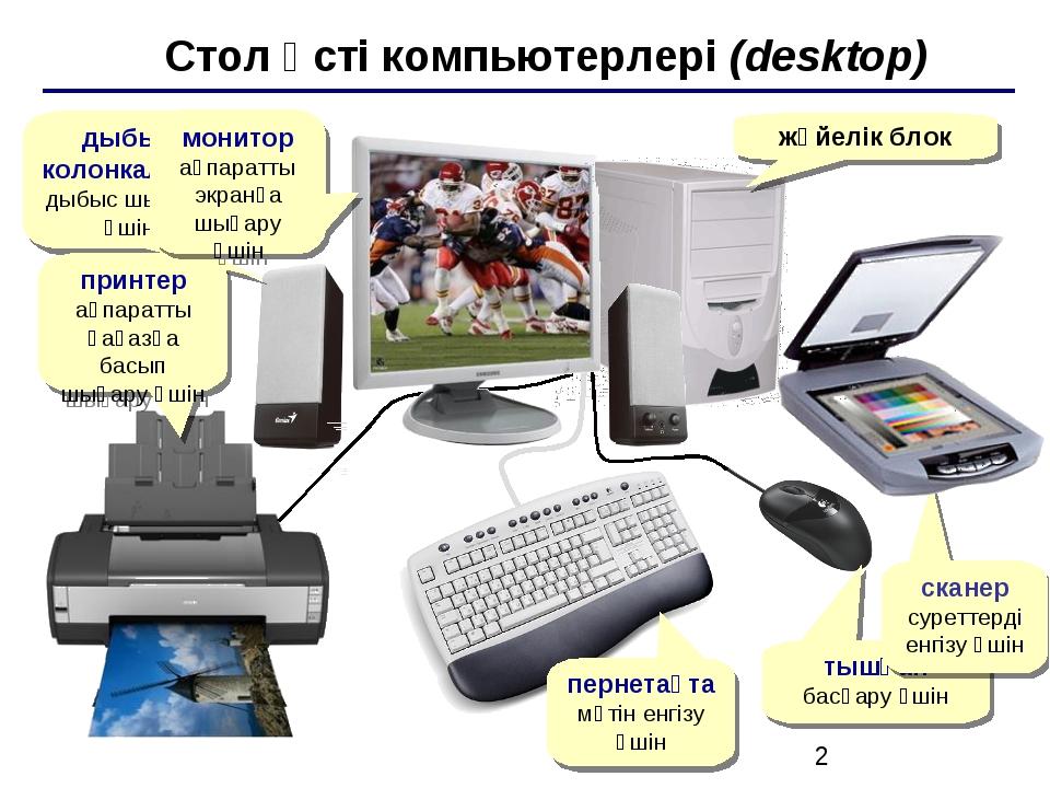 Стол үсті компьютерлері (desktop) жүйелік блок дыбыс колонкалары дыбыс шығар...
