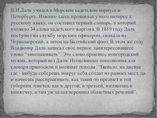 В.И.Даль учился в Морском кадетском корпусе в Петербурге. Именно здесь прояви