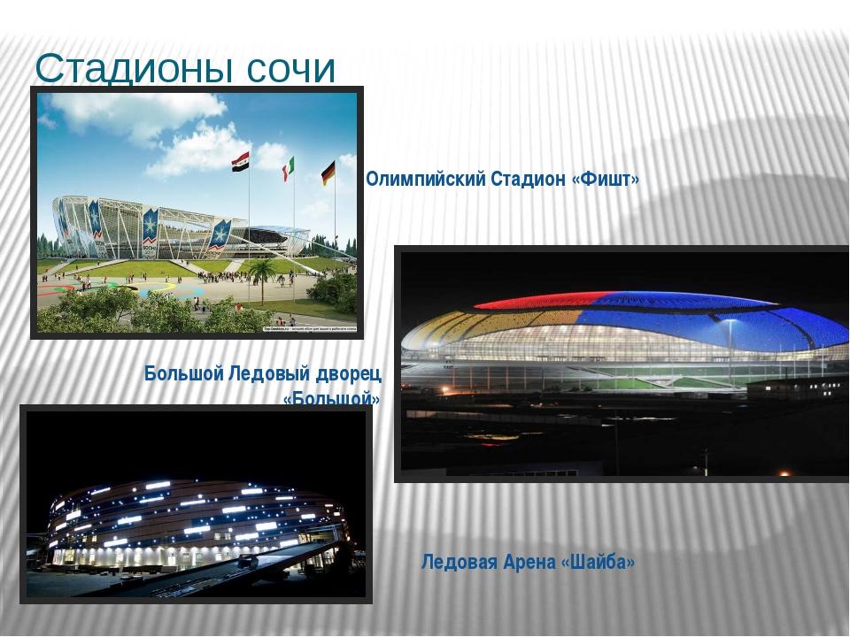Стадионы сочи Олимпийский Стадион «Фишт» Большой Ледовый дворец «Большой» Лед...