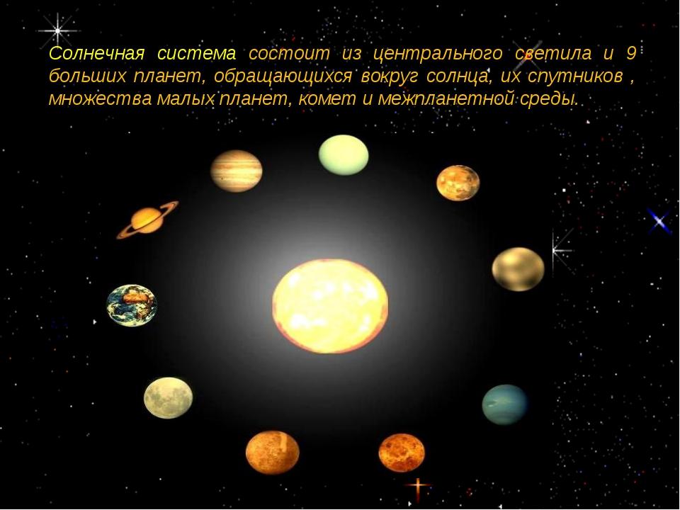Солнечная система состоит из центрального светила и 9 больших планет, обращаю...