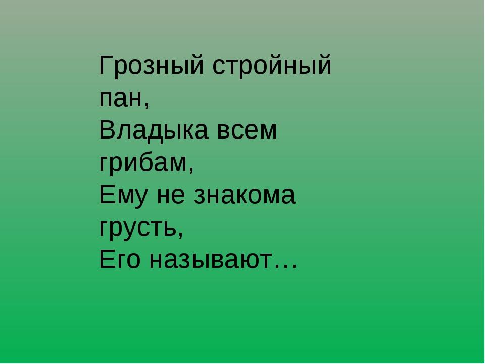 Грозный стройный пан, Владыка всем грибам, Ему не знакома грусть, Его называют…