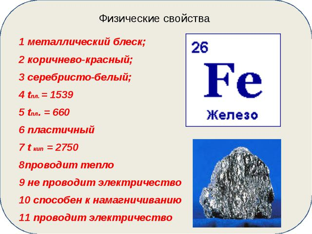 Физические свойства 1 металлический блеск; 2 коричнево-красный; 3 серебристо...