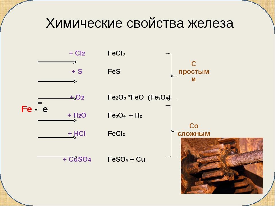 Химические свойства железа + Cl2 FeCl3 + S FeS С простыми + O2 Fe2O3*FeO(Fe3...