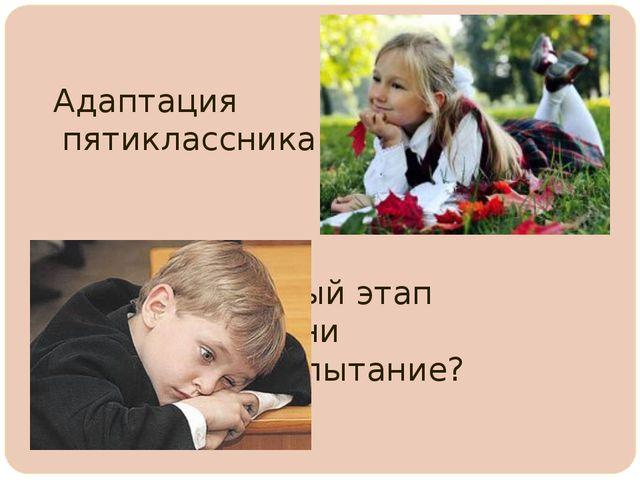 Адаптация пятиклассника –  важный этап школьной жизни  и...