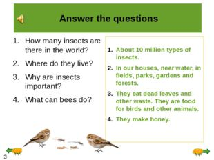 Answer the questions How many insects are there in the world? Where do they