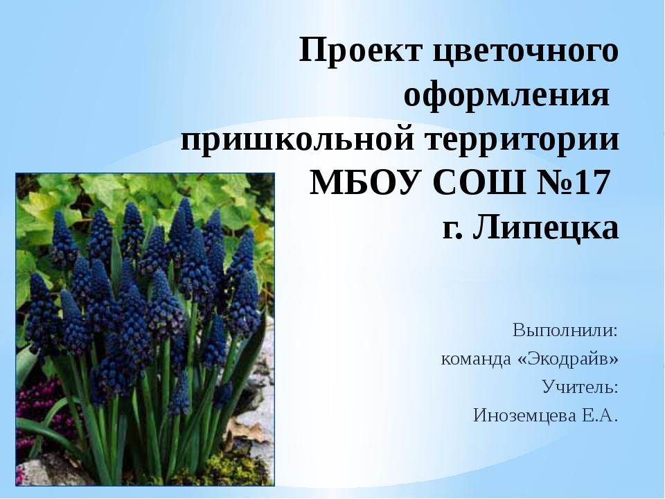 Выполнили: команда «Экодрайв» Учитель: Иноземцева Е.А. Проект цветочного офор...