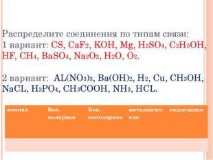 Распределите соединения по типам связи: 1 вариант: CS, CaF2, KOH, Mg, H2SO4,