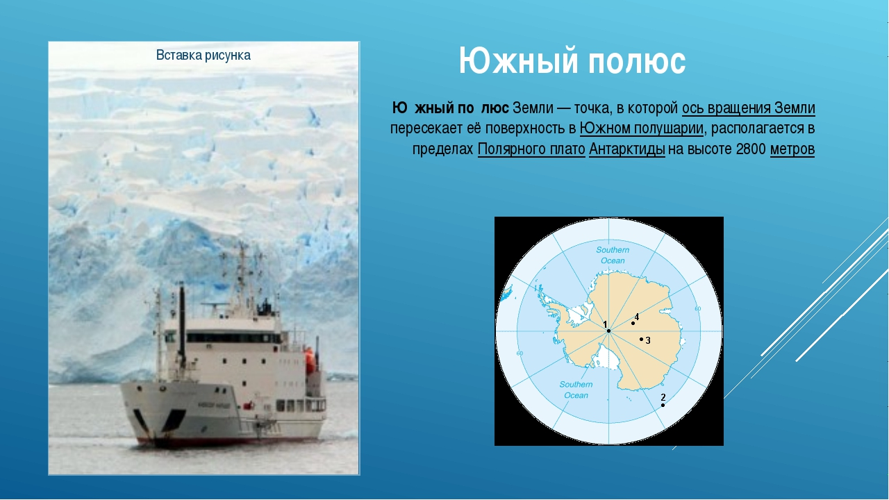 Южный полюс Ю́жный по́люс Земли— точка, в которой ось вращения Земли пересек...
