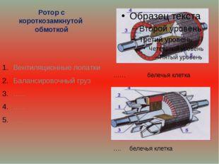 Ротор с короткозамкнутой обмоткой Вентиляционные лопатки Балансировочный груз