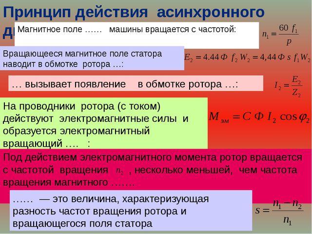 Принцип действия асинхронного двигателя: Магнитное поле …… машины вращается с...