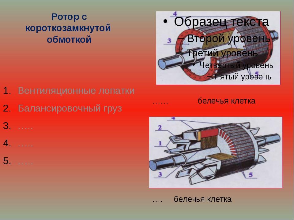 Ротор с короткозамкнутой обмоткой Вентиляционные лопатки Балансировочный груз...