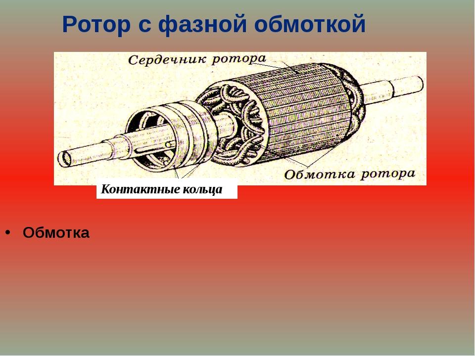 Ротор с фазной обмоткой Сердечник Обмотка Обмотка Контактные кольца