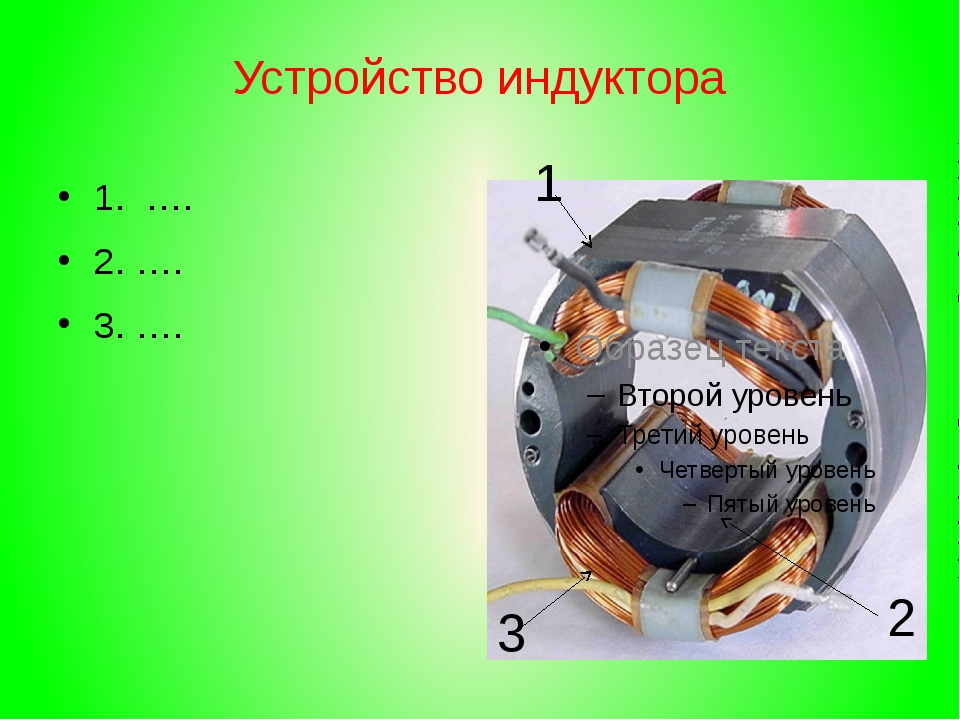Устройство индуктора 1. …. 2. …. 3. …. 1 2 3