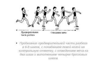 Пробегание предварительной части разбега в 6-8 шагов, с попаданием левой ного
