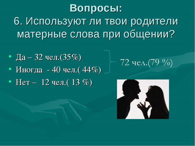 Вопросы: 6. Используют ли твои родители матерные слова при общении? Да – 32 ч...