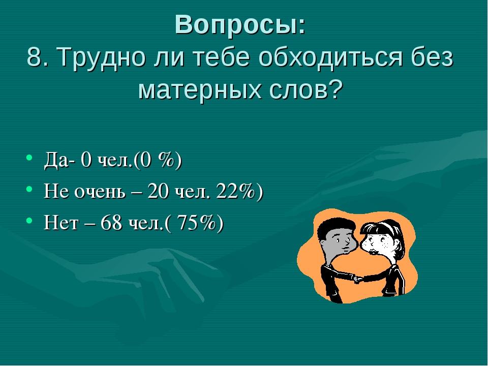 Вопросы: 8. Трудно ли тебе обходиться без матерных слов? Да- 0 чел.(0 %) Не о...