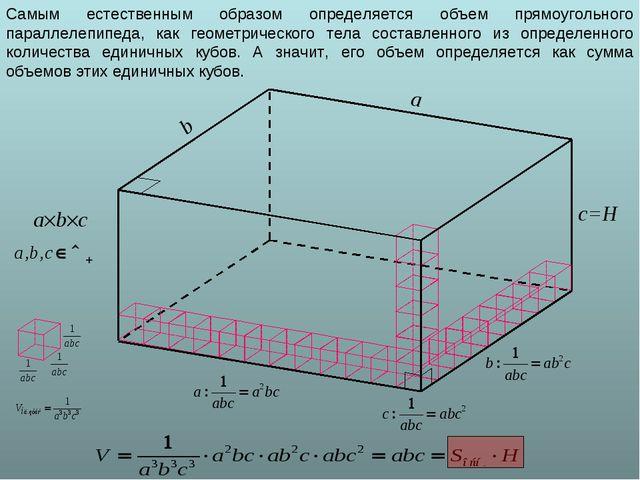 a b c=H abc Самым естественным образом определяется объем прямоугольного па...
