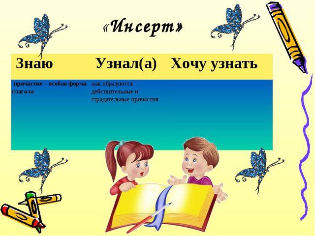 «Инсерт» Знаю Узнал(а)Хочу узнать причастие – особая форма глаголакак об...
