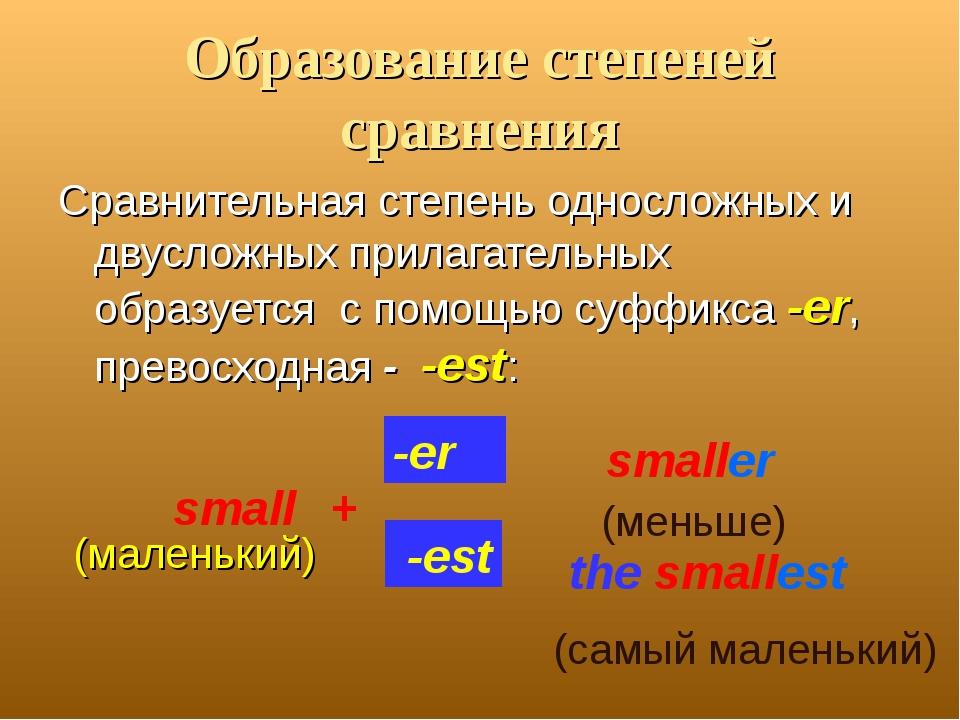 Образование степеней сравнения Сравнительная степень односложных и двусложных...