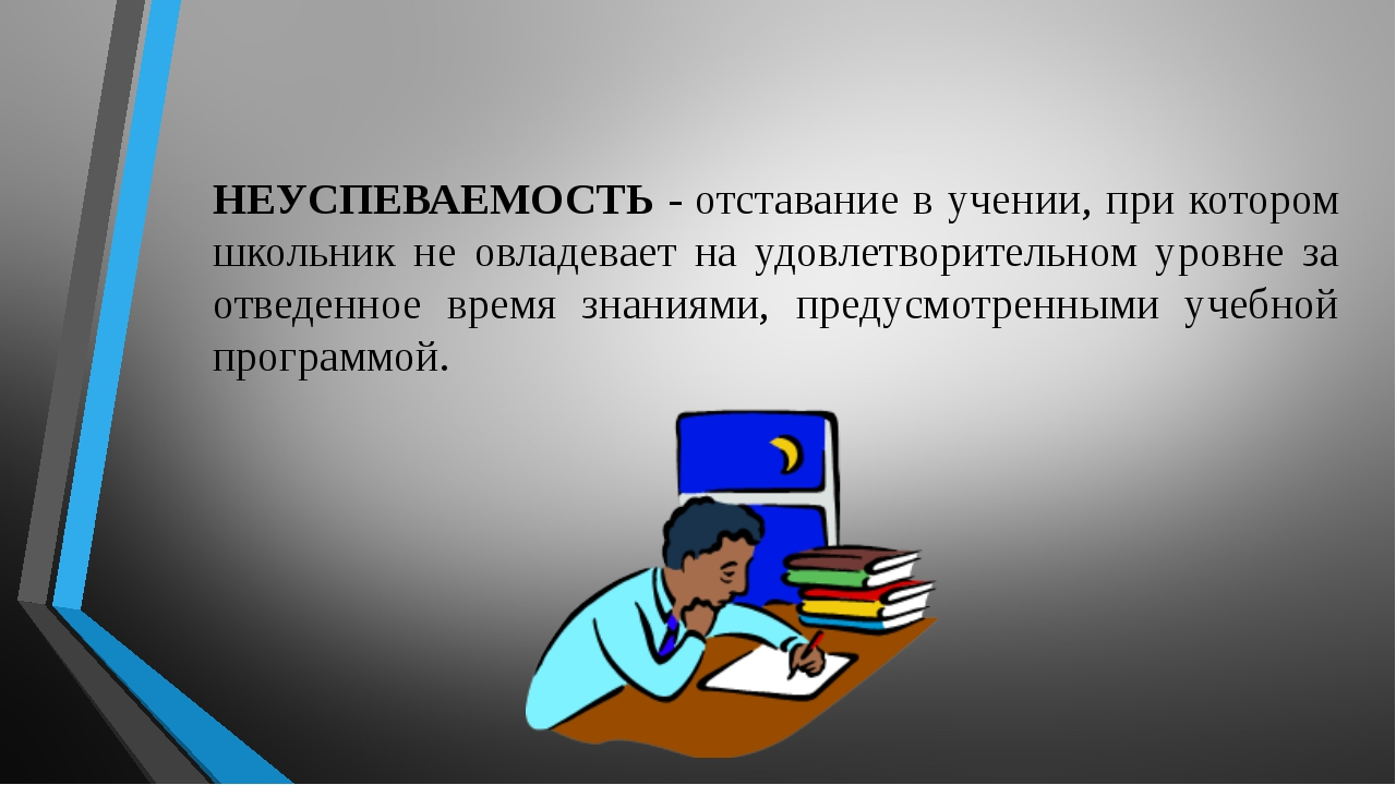 НЕУСПЕВАЕМОСТЬ -отставание в учении, при котором школьник не овладевает на у...