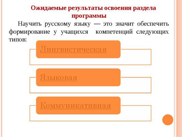 Ожидаемые результаты освоения раздела программы Научить русскому языку — это...