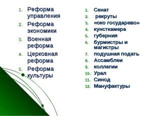 Сенат рекруты «око государево» кунсткамера губерния бурмистры и магистры поду