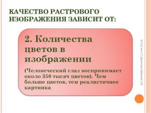 КАЧЕСТВО РАСТРОВОГО ИЗОБРАЖЕНИЯ ЗАВИСИТ ОТ: БСОШ им.С.П.Данилова Ефремов И.В.