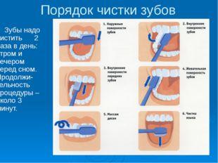 Порядок чистки зубов Зубы надо чистить 2 раза в день: утром и вечером перед с