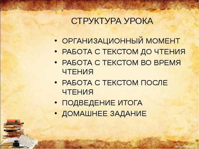 СТРУКТУРА УРОКА ОРГАНИЗАЦИОННЫЙ МОМЕНТ РАБОТА С ТЕКСТОМ ДО ЧТЕНИЯ РАБОТА С ТЕ...