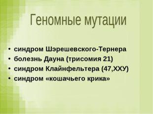 синдром Шэрешевского-Тернера болезнь Дауна (трисомия 21) синдром Клайнфельтер