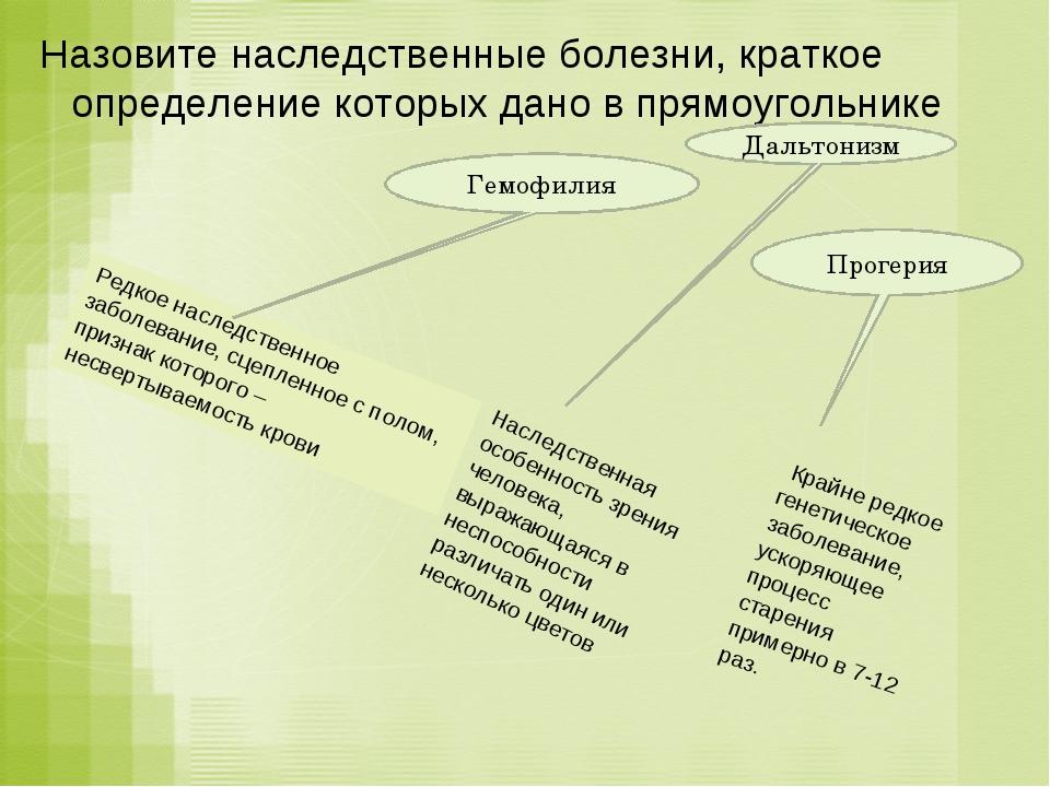 Назовите наследственные болезни, краткое определение которых дано в прямоугол...