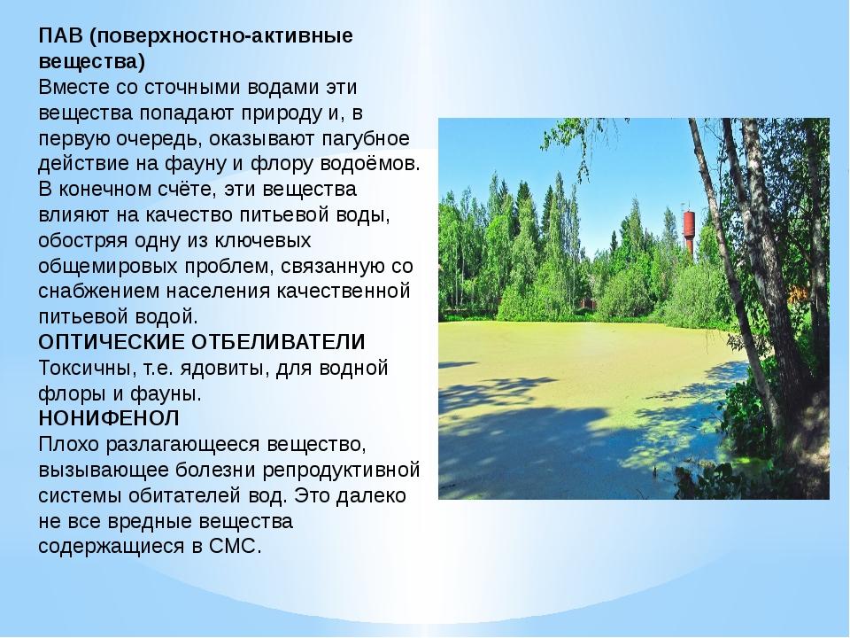 ПАВ (поверхностно-активные вещества) Вместе со сточными водами эти вещества п...