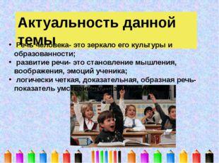 Актуальность данной темы Речь человека- это зеркало его культуры и образованн