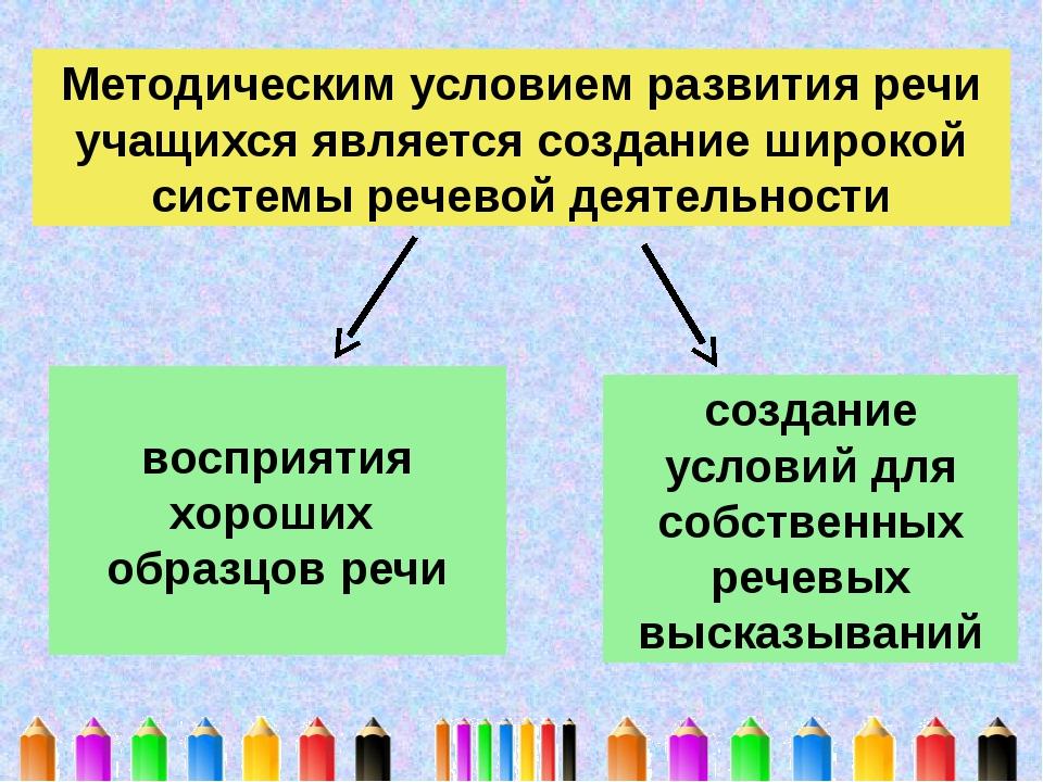 Методическим условием развития речи учащихся является создание широкой систем...
