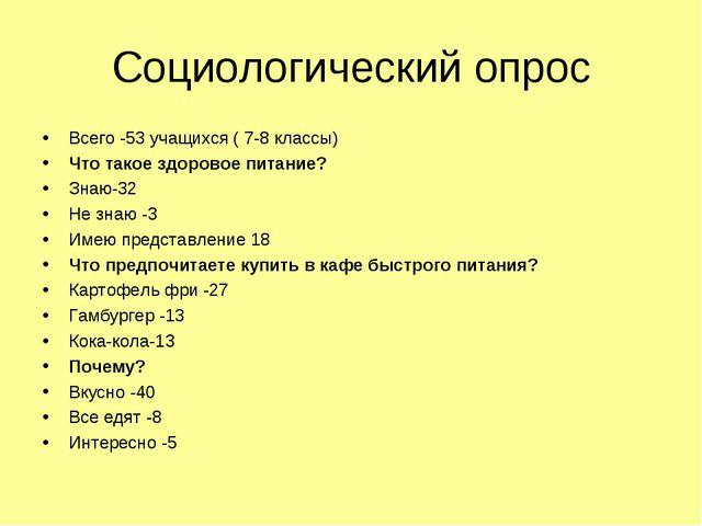Социологический опрос Всего -53 учащихся ( 7-8 классы) Что такое здоровое пит...