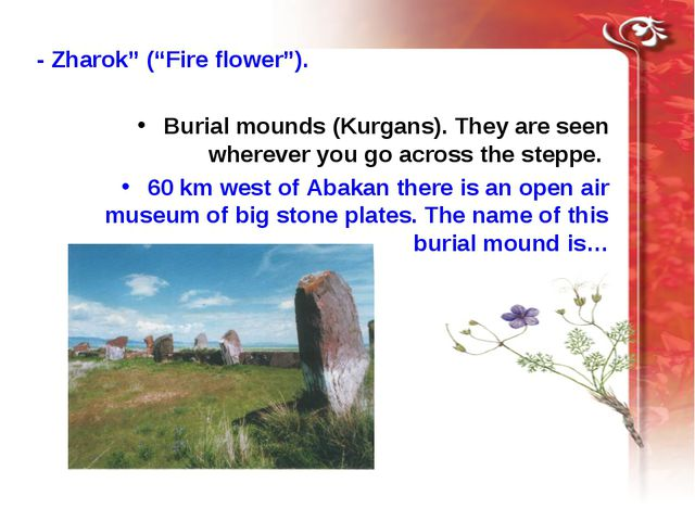 "- Zharok"" (""Fire flower""). Burial mounds (Kurgans). They are seen wherever y..."