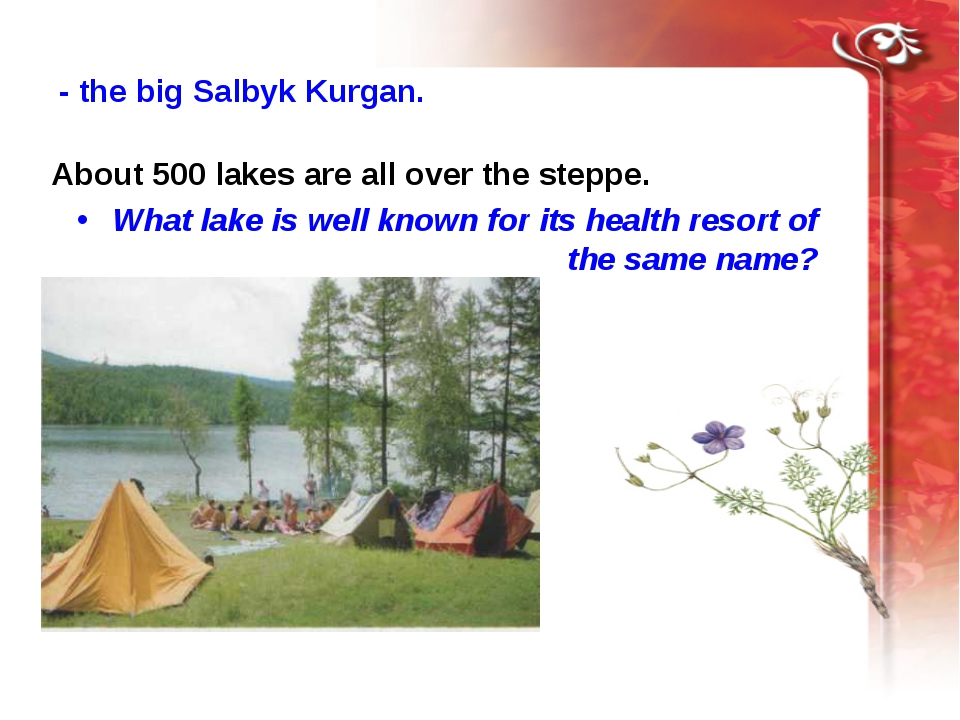 About 500 lakes are all over the steppe. What lake is well known for its...