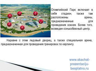 Наравне с этим ледовый дворец, а также специальная арена, предназначенная для