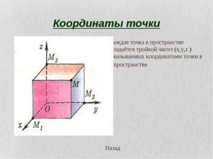 Координаты точки Каждая точка в пространстве задаётся тройкой чисел (x,y,z )