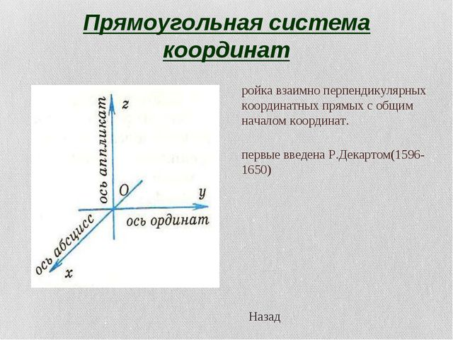 Прямоугольная система координат Тройка взаимно перпендикулярных координатных...