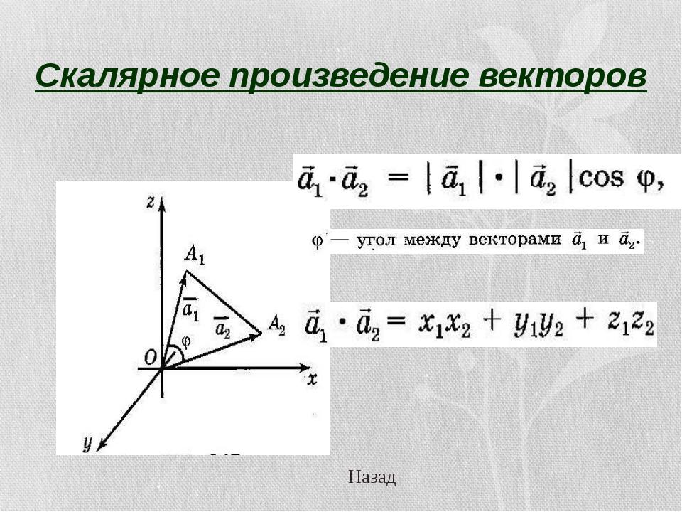 Скалярное произведение векторов Назад