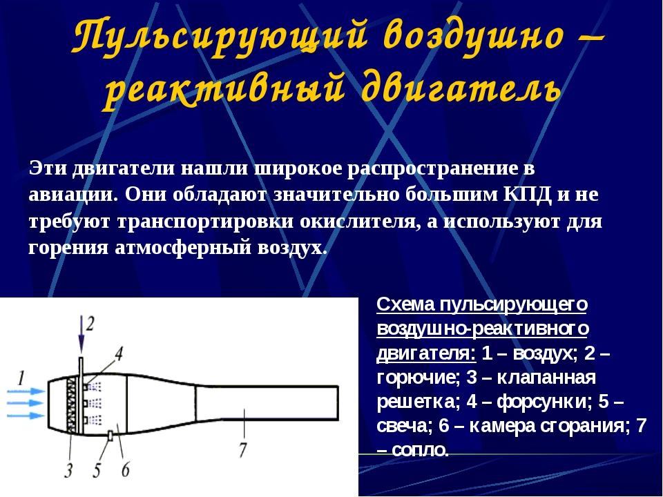 Схема пульсирующего воздушно-реактивного двигателя: 1 – воздух; 2 – горючие;...