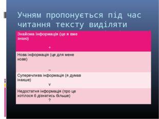 Учням пропонується під час читання тексту виділяти інформацію 4-х видів і для