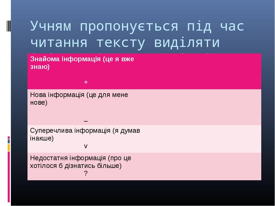 Учням пропонується під час читання тексту виділяти інформацію 4-х видів і для...